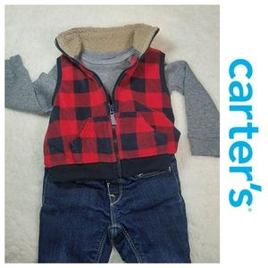 Carters Red/Blk Buffalo check fleece vest